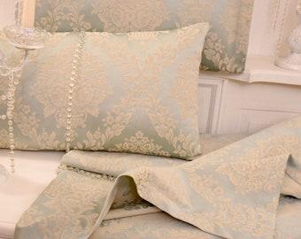 Damascus compress in powder blue cotton satin