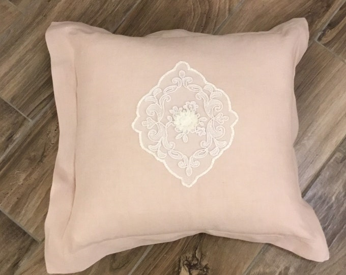 """Pure pink linen cushion and tulle decoration embroidered collection """"MARIACAROLINA"""""""
