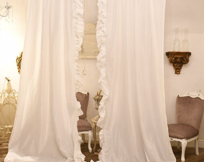 Pair curtains with voilant in total White taffetá