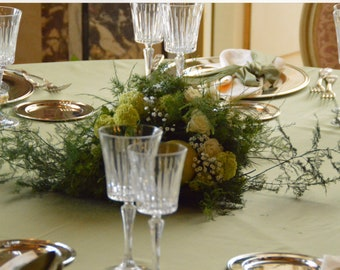 Wedding green sage satin tableclo in silk