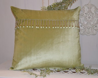 Luxury green velvet cushion and trimmings crystals