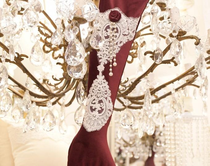 Italian luxury Christmas sock burgundy velvet and fine ivory lace