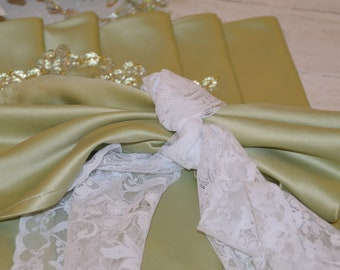 Sage green Satin Napkin set of 6