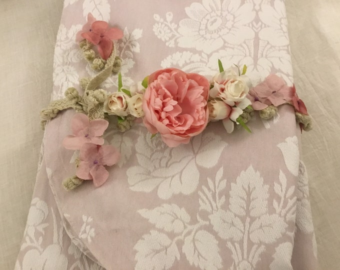 "Piquet Cotton Bedspread ""The Roses"""