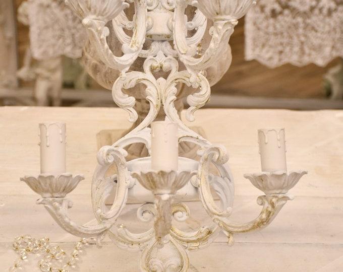 Ancient Art Nouveau applique in 20th century white antiqued brass