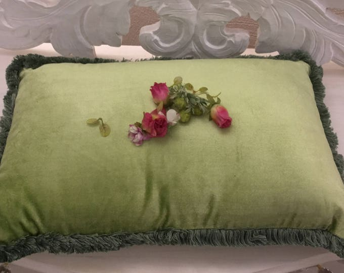 Luxury green velvet pillow with trimmings
