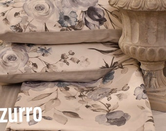 Rose flower sheets, peonies, magnolias, orthra in pure blue organic cotton / dove