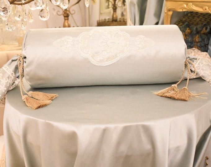 Luxury satin cushion in tiffany silk and fine lace