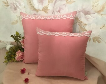 Pillow cover taffetá and intense powder pink lace handmade in Italy