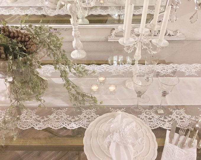 """Italian luxury Runner white lace """"Elisabetta collection"""""""
