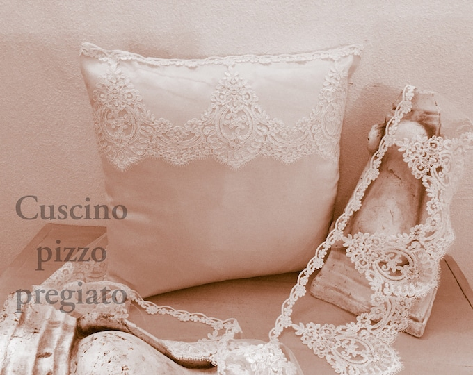 Luxury antique sateen and beige lace Pillow