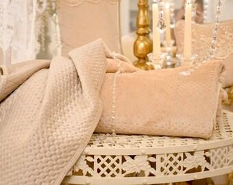 Blanket,plaid ,quilt in precious ivory velvet