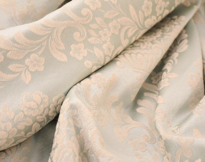 Powder blue cotton damask fabric