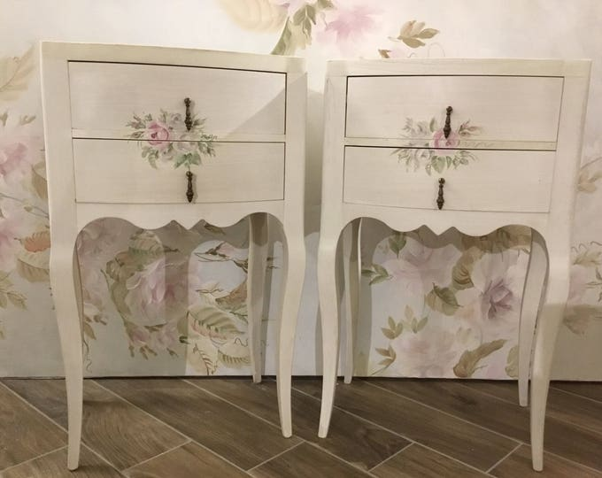 Decorated bedside tables Set of 2 hand-painted with rose decorations