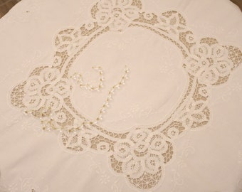 "Embroidered old white table covering of the 20th century ""Eleanor"""
