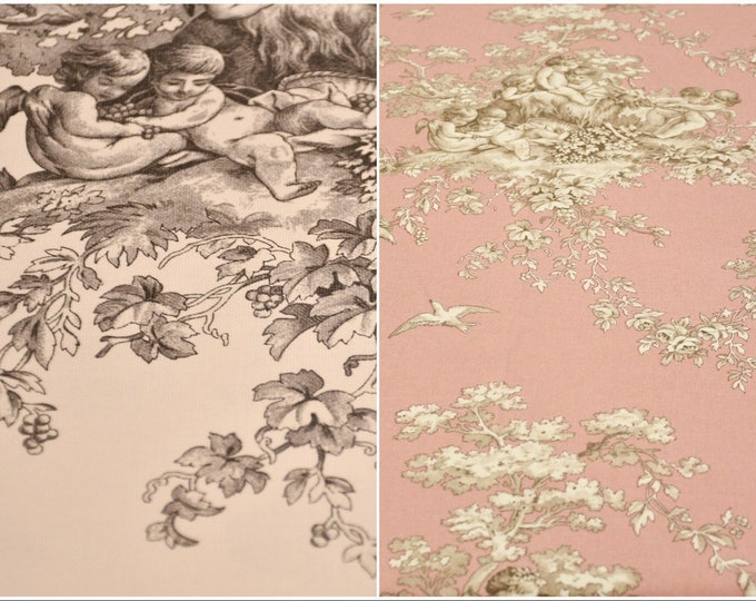 Toile de jouy fabric in cotton 100% in height 280