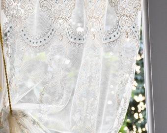 Blue 'Maria Sofia' embroidered glass curtain