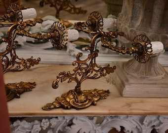 Ancient pair of 19th century brass appliques