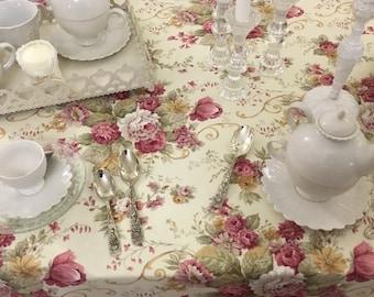 Vintage Rose Tablecloth Roses