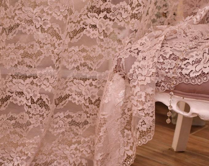 "Chantilly lace curtain Lilac Grey ""Divina"""