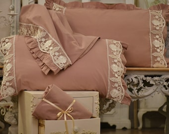 """Pure pink cotton bed set and fine lace """"MARIA CATERINA"""" collection"""