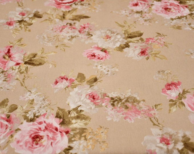 Beige bottom floral cotton fabric