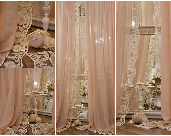 """Couple of curtains in georgette and lace """"Maria Caterina"""""""