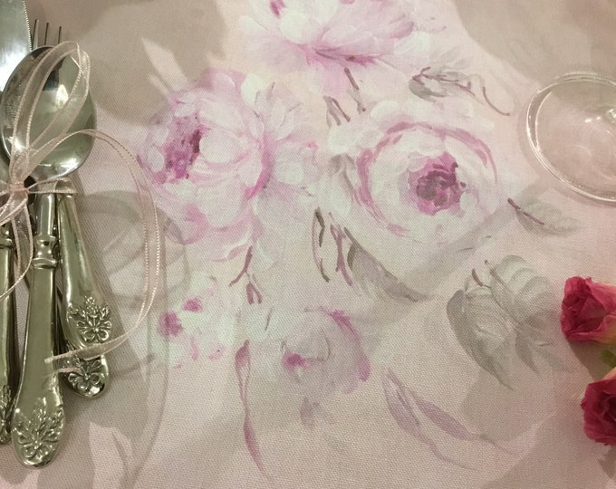 Set/tovagliette pink napkins with exclusive painted roses Faggianis
