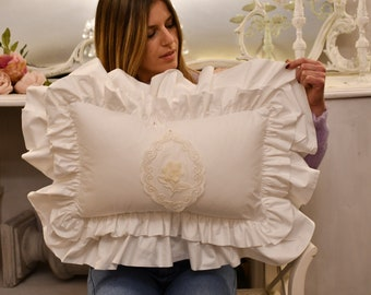 """Voilant cushion in pure percale cotton and embroidery collection """"organic Italian"""""""