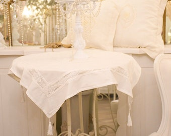 Vintage cotton and lace table cover