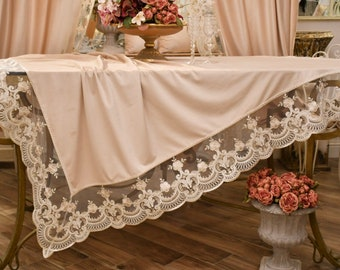 """Velvet tablecloth/table cover and rebrodé lace """"Champagne"""""""