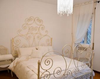 Wrought iron bed antique ivory art nouveau style
