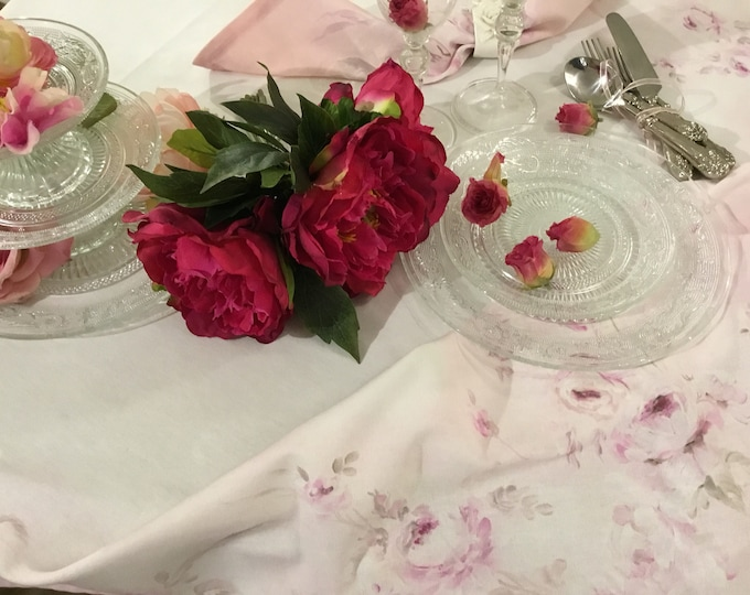 "Pink Tablecloth ""Painted roses"""