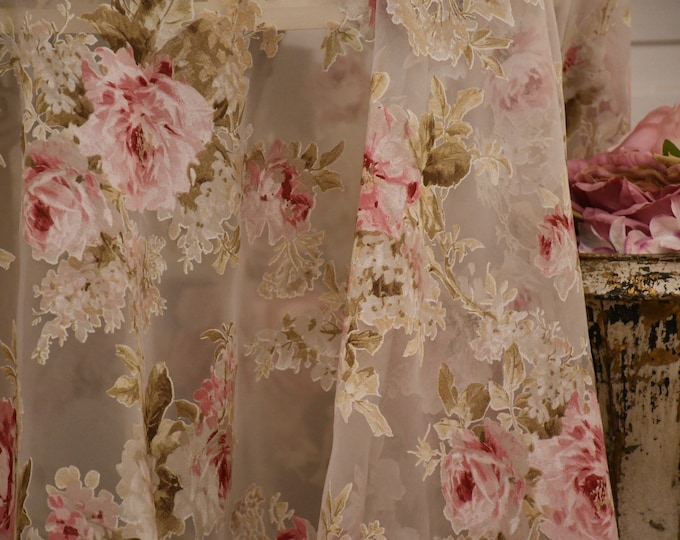 Devoré floral organza fabric for curtains and bedspreads