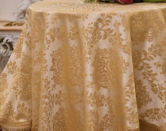 """Tablecloth table cover Damascus luxury ivory gold collection """"Royal Style"""""""