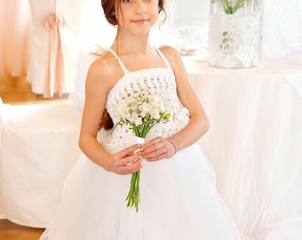 """White tulle girl dress and lace """"Jioly"""""""