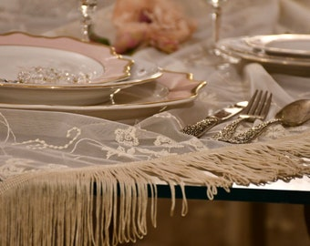 """""""Silvy"""" embroidered tulle table cover"""