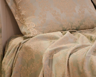 """Bedspread Damascus luxury light blue collection """"Royal Style"""""""