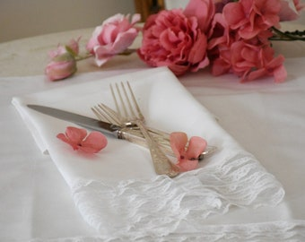 White napkin edged with lace