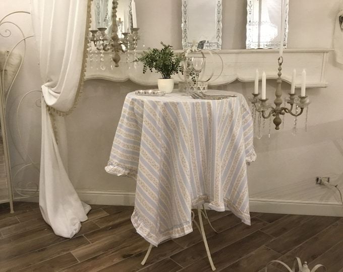 Provencal tablecloth blue stripe