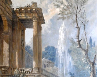 "Canvas painted landscapes ""Fontaine"""
