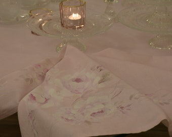 """HAND-painted TABLEcloth """"FRESCO ROSE"""""""