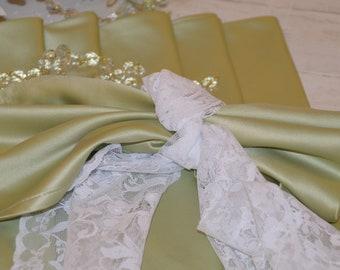 Sage green satin napkin set of 6
