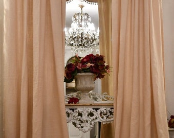 Complete curtains with mantuan in pure pink Linen