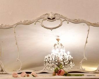 Wonderful old white Art Nouveau mirror