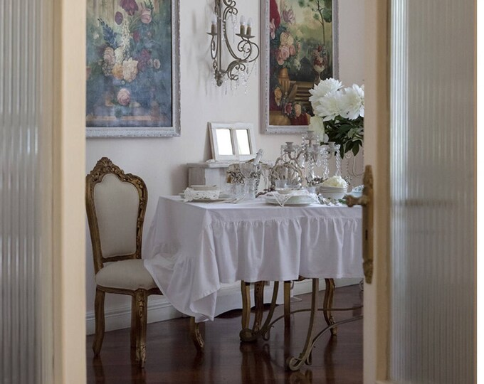 Tablecloth with sheer white flounce