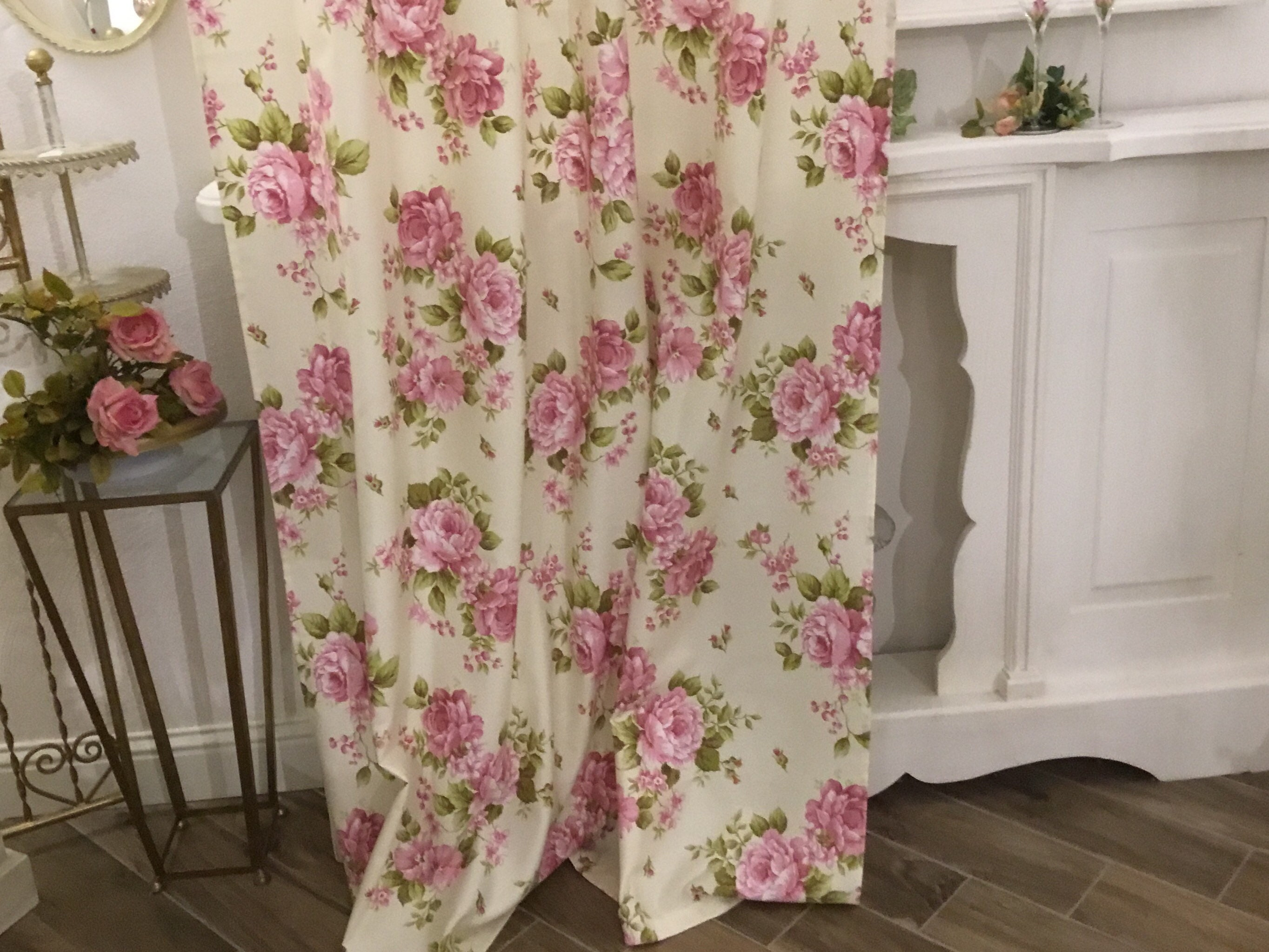 Pink Flower Curtains Shabbychic