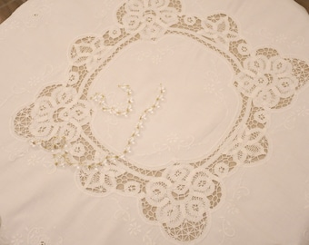 "Antique white embroidered table cover of the twentieth century ""Eleonora"""