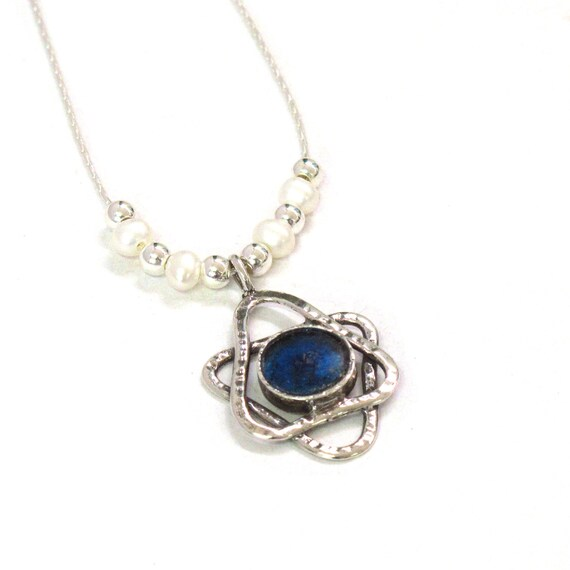 Blue Roman Glass 925 Silver Magen David Oval Necklace with Freshwater Pearls