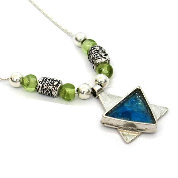 Roman Glass Artisan Magen David with Peridot Bead made in Israel Roman Glass Unique Sterling Silver Star of David Necklace